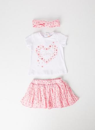 Set vara fetite, tricou maneca scurta cu fusta si bandana roz, Babybol [0]