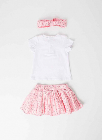 Set vara fetite, tricou maneca scurta cu fusta si bandana roz, Babybol [2]