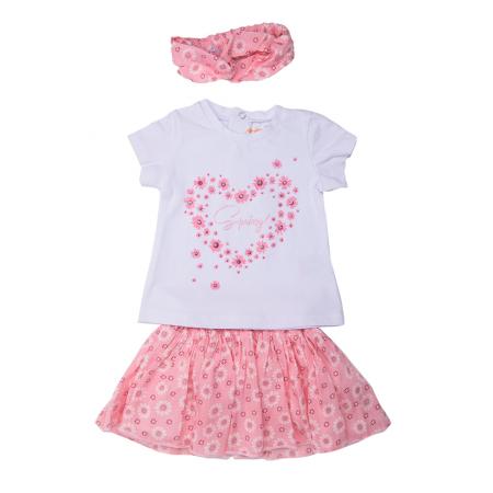 Set vara fetite, tricou maneca scurta cu fusta si bandana roz, Babybol [1]