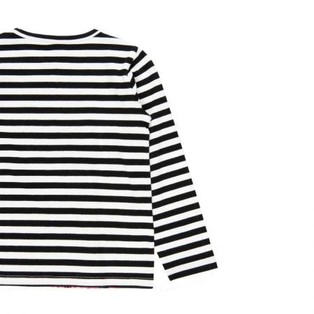 Tricou fete cu maneca lunga, dungi negre cu imprimeu floral, Boboli3
