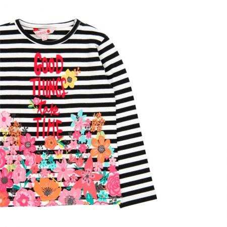 Tricou fete cu maneca lunga, dungi negre cu imprimeu floral, Boboli2