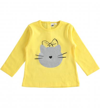 Tricou fete maneca lunga, galben, imprimeu cap pisica, iDO0