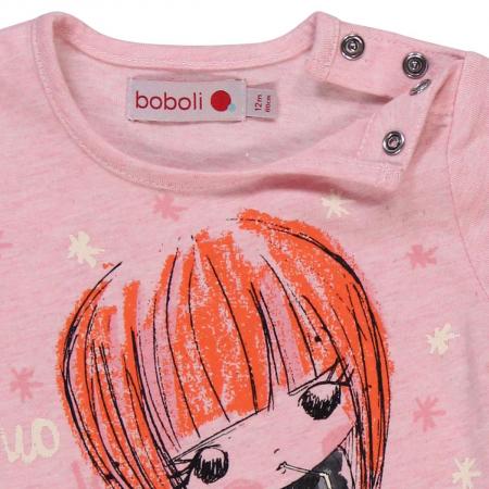 Tricou fete , maneca lunga, roz, Boboli [3]