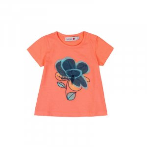 Tricou fete maneca scurta , orange , floare aplicata, Boboli0
