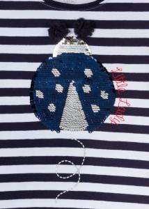 Tricou fete vara, gargarita paiete reversibila, dungi navy2