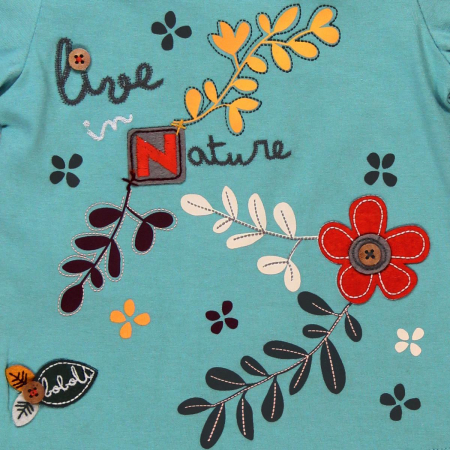 Tricou fetite 3-24 luni, turcoaz, imprimeu floral, Boboli [2]