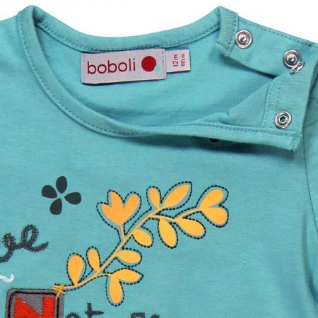 Tricou fetite 3-24 luni, turcoaz, imprimeu floral, Boboli [3]
