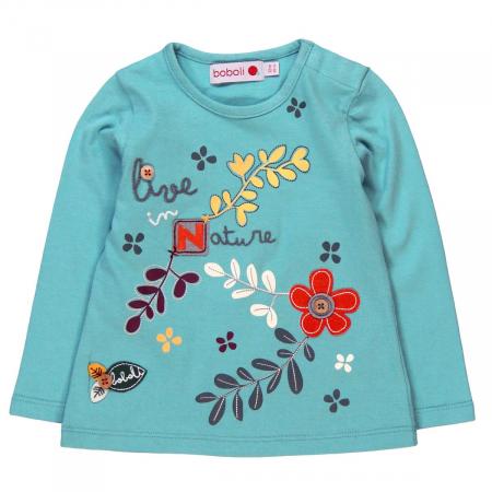 Tricou fetite 3-24 luni, turcoaz, imprimeu floral, Boboli [0]