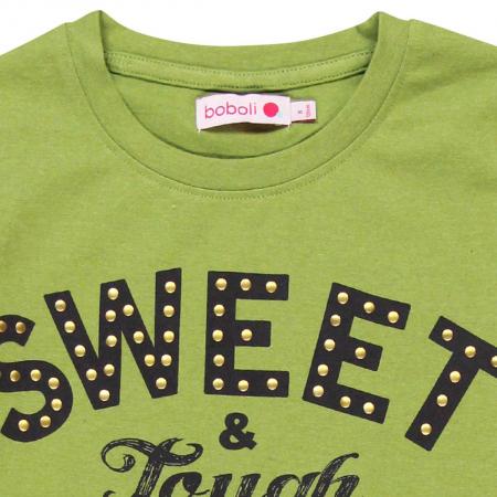 Tricou maneca lunga fete, sweet, verde, Boboli [2]