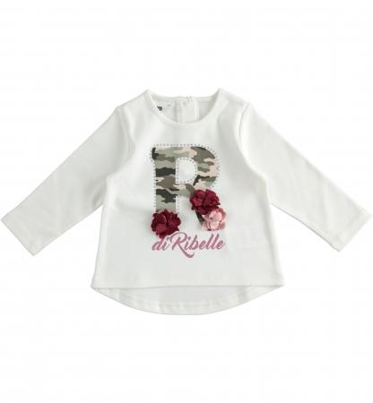 Tricou maneca lunga fetite, R camuflaj, flori grena, iDO0