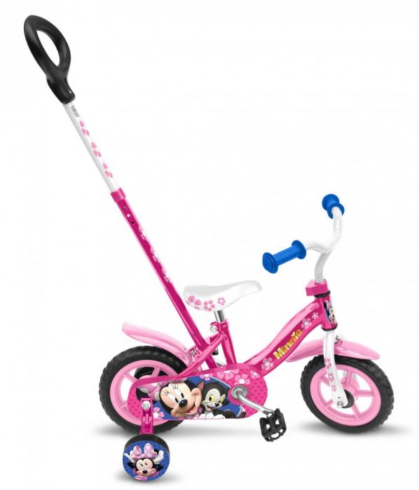 Bicicleta Stamp Minnie 10 inch cu bara de impins 0