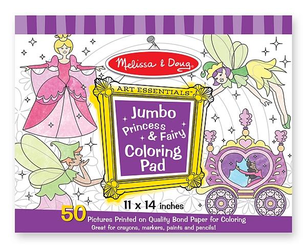 Caiet jumbo cu desene pentru colorat Printese si zane Melissa and Doug 2