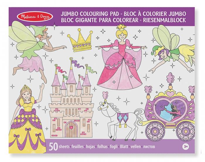 Caiet jumbo cu desene pentru colorat Printese si zane Melissa and Doug 1