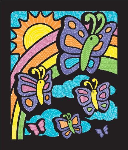 Carnet de colorat Catifeaua magica Fluturi si Flori Melissa and Doug 0