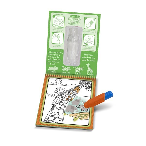 Carnet de colorat cu Apa magica Safari - Melissa and Doug 1