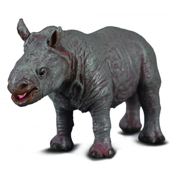 Figurina pui de Rinocer alb S Collecta 2