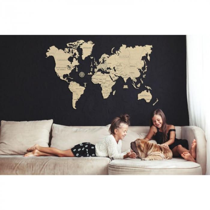 Harta lumii puzzle 3D de perete (XL) 8