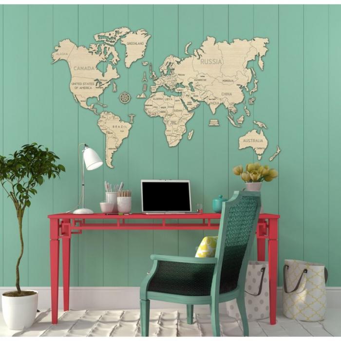 Harta lumii puzzle 3D de perete (XL) 10