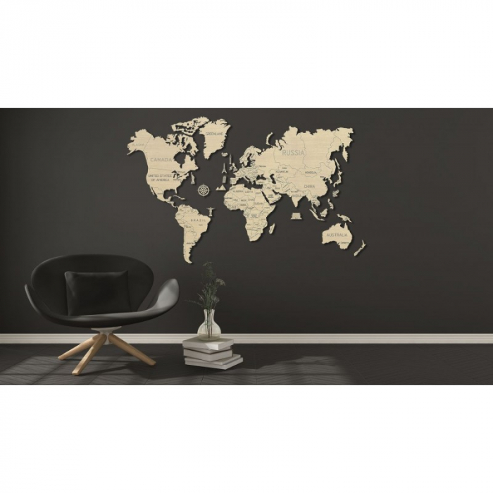 Harta lumii puzzle 3D de perete (XL) 7