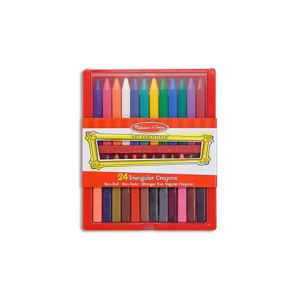 Melissa and Doug - Set 24 creioane colorate triunghiulare 0