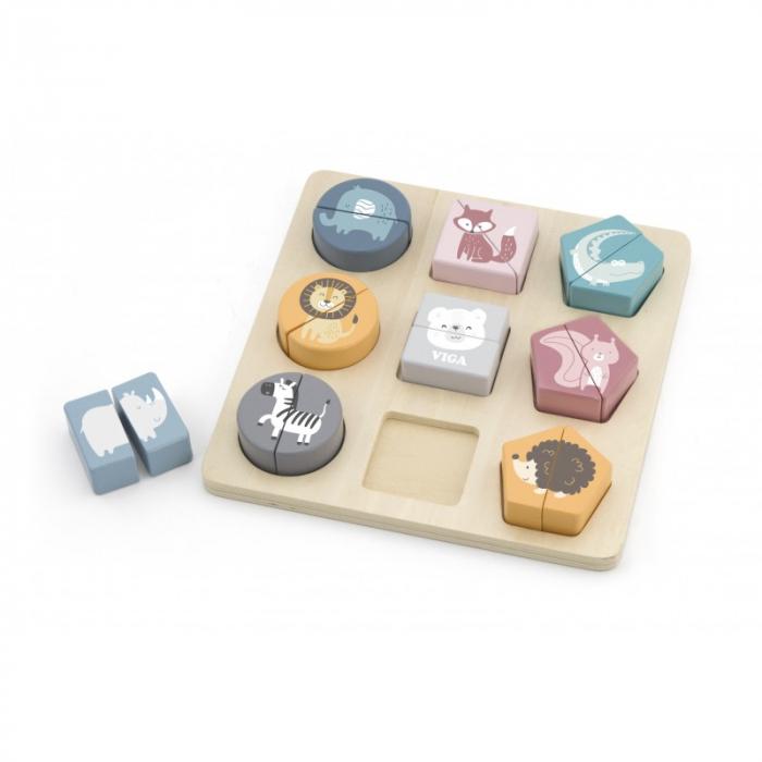 Puzzle din cuburi din lemn cu animale salbatice, PolarB Viga 1