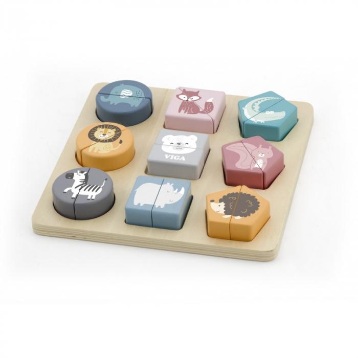 Puzzle din cuburi din lemn cu animale salbatice, PolarB Viga 0