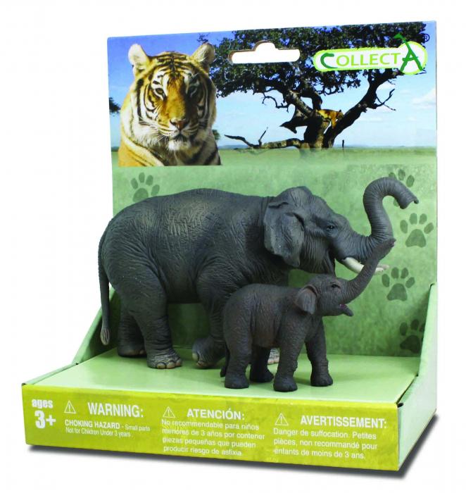 Set 2 Figurine Elefant Asiatic cu pui Collecta 3