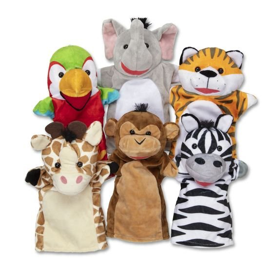 Set 6 papusi de mana Animale Safari - Melissa & Doug 0