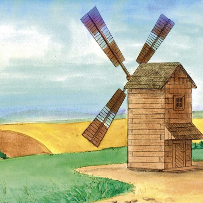Set constructie arhitectura Moara de vant, 137 piese din lemn, Walachia 1
