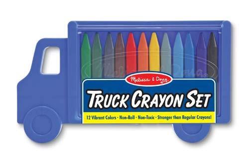 Set creioane colorate triunghiulare Truck Melissa and Doug 12 buc 0