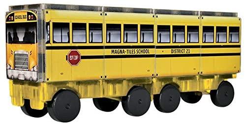 Set de constructie piese magnetice Autobuzul scolar 123 CreateOn Magna-Tiles - Set 16 piese magnetice 6