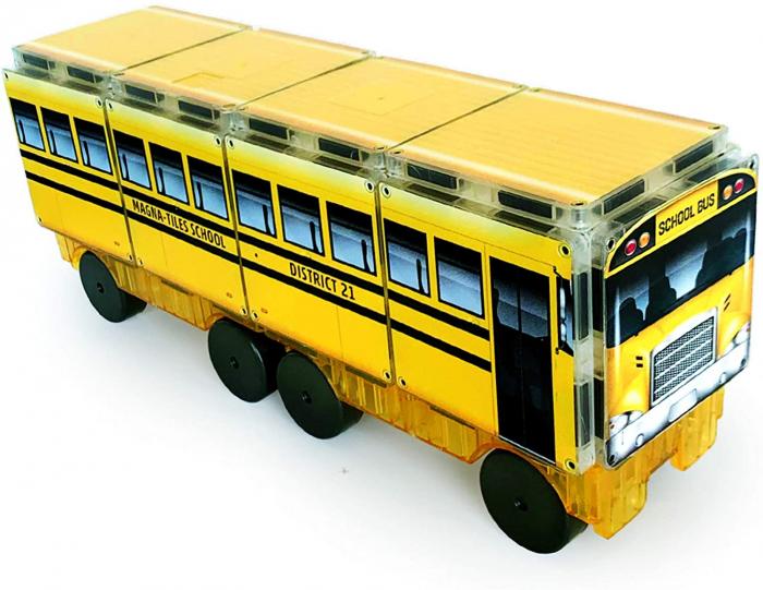 Set de constructie piese magnetice Autobuzul scolar 123 CreateOn Magna-Tiles - Set 16 piese magnetice 0