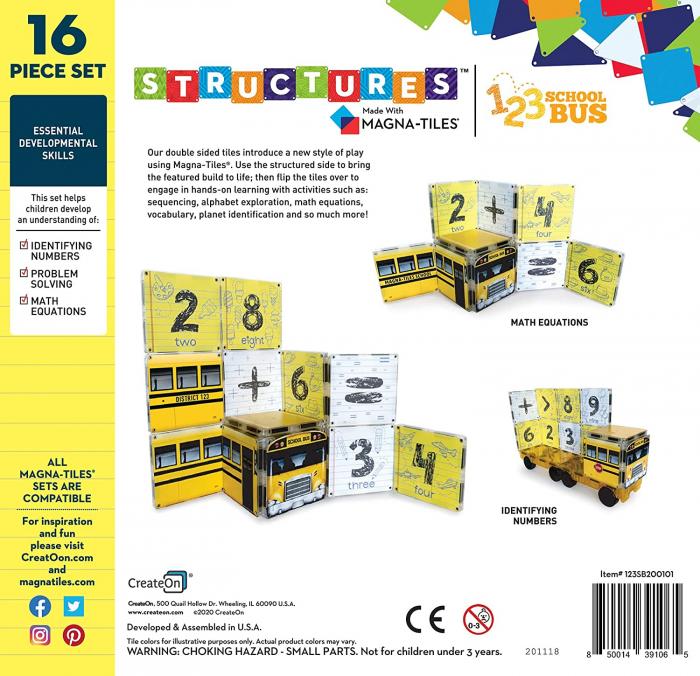 Set de constructie piese magnetice Autobuzul scolar 123 CreateOn Magna-Tiles - Set 16 piese magnetice 1