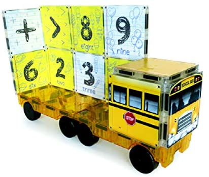 Set de constructie piese magnetice Autobuzul scolar 123 CreateOn Magna-Tiles - Set 16 piese magnetice 3