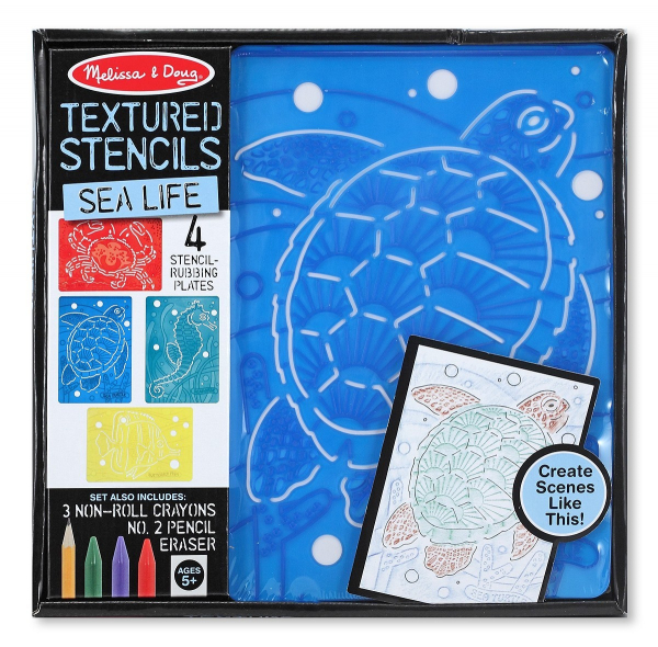 Set de sabloane texturate Animale marine Melissa and Doug 0