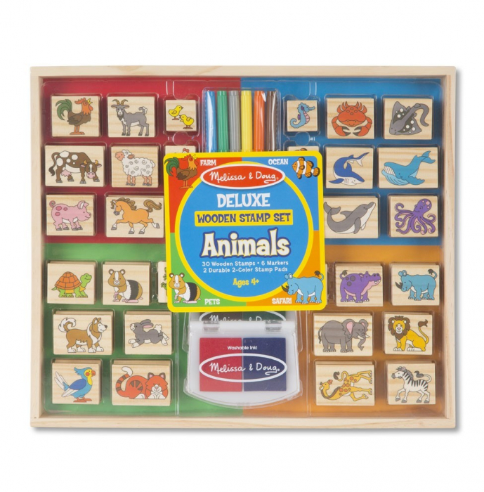 Set stampile din lemn Animale Deluxe 0