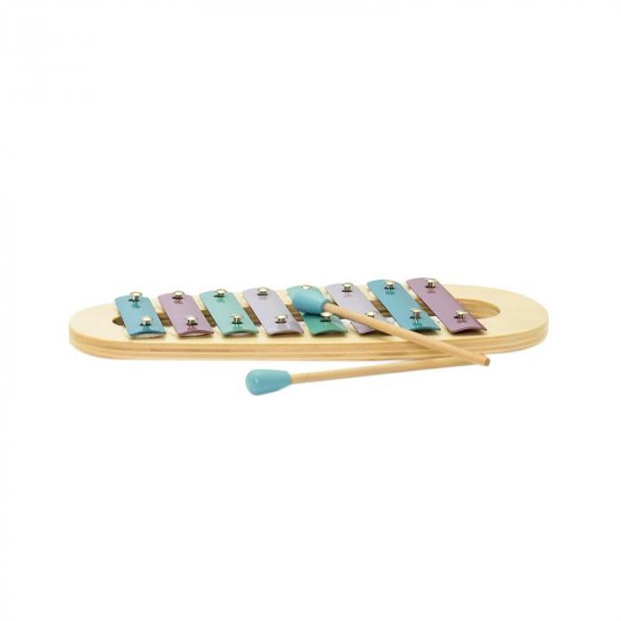 Xilofon jucarie muzicala din lemn, culori pastelate, MamaMemo 0