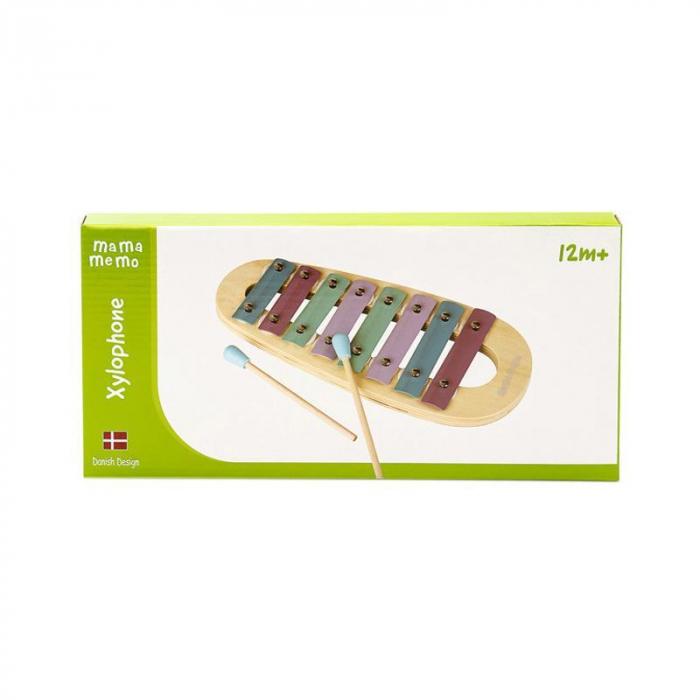 Xilofon jucarie muzicala din lemn, culori pastelate, MamaMemo 1