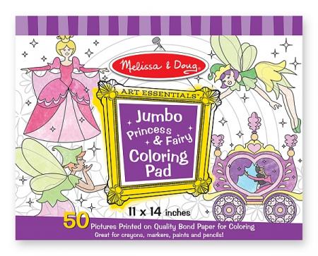 Caiet jumbo cu desene pentru colorat Printese si zane Melissa and Doug2