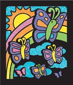 Carnet de colorat Catifeaua magica Fluturi si Flori Melissa and Doug0