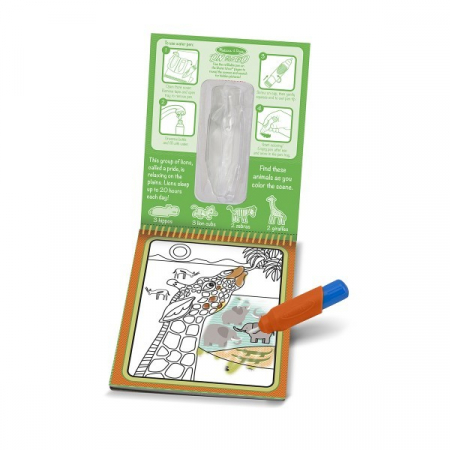 Carnet de colorat cu Apa magica Safari - Melissa and Doug4