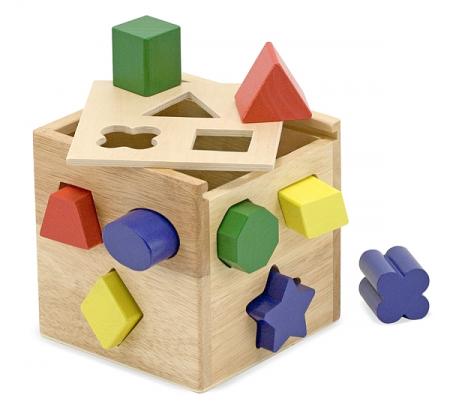 Cub din lemn cu forme de sortat Melissa and Doug1