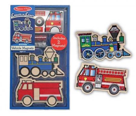 Decoreaza Vehicule din lemn cu magneti Melissa and Doug1