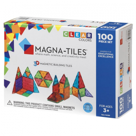 Magna-Tiles Clear Colors set magnetic (100 piese)0