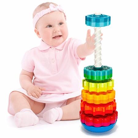 Piramida cu rotite pentru bebelusi - Fat Brain Toys5