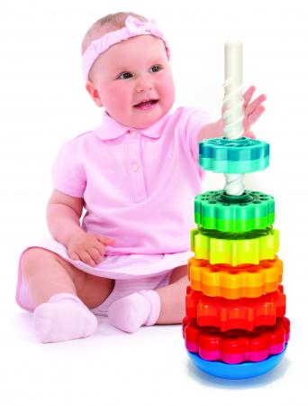 Piramida cu rotite pentru bebelusi - Fat Brain Toys0