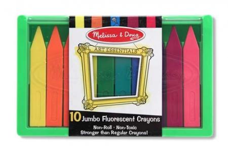 Set 10 creioane colorate groase trunghiulare in culori fluorescente Melissa and Doug1
