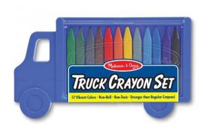 Set creioane colorate triunghiulare Truck Melissa and Doug 12 buc0