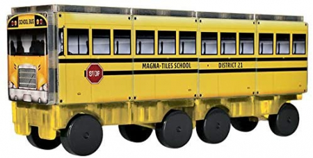 Set de constructie piese magnetice Autobuzul scolar 123 CreateOn Magna-Tiles - Set 16 piese magnetice6