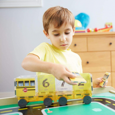Set de constructie piese magnetice Autobuzul scolar 123 CreateOn Magna-Tiles - Set 16 piese magnetice5